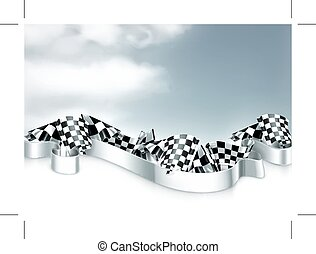 Checkered flags vector background