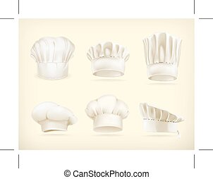 Chef hats vector icons - Set with chef hats vector icons