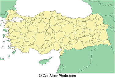 Turkey with Administrative Districts and Surrounding...