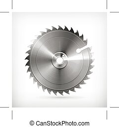 Circular saw blade, vector icon, isolated on white...