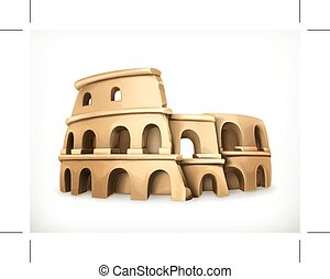 Colosseum, vector icon, isolated on white background