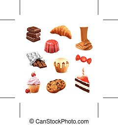 Confectionery illustration icons - Set with confectionery...