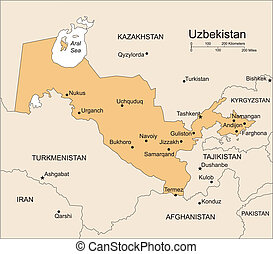 Uzbekistan, Major Cities and Surrounding Countries