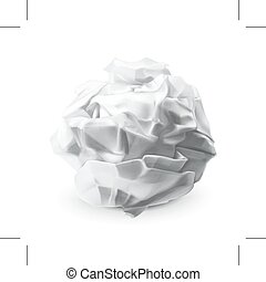 Crumpled white paper, isolated on white background