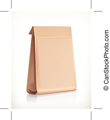 Paper bag - Paper bag, vector object, isolated on white...