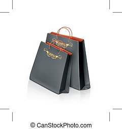 Black paper bags - Black paper shopping bags, isolated on...