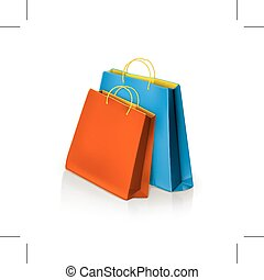 Blue and red paper bags - Blue and red shopping paper bags,...