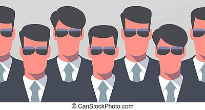 Secret service agents - Group of bodyguards in dark suits...