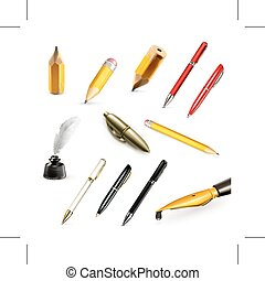 Pens and pencils icons - Set with pens and pencils, vector...