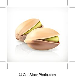 Pistachio nuts icon - Pistachio nuts, vector icon, isolated...