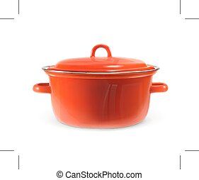 Red saucepan, vector illustration, isolated on white...