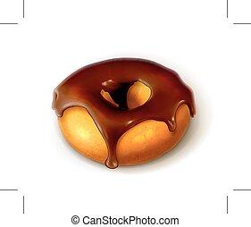Ring doughnut in chocolate glaze - Ring doughnut in...