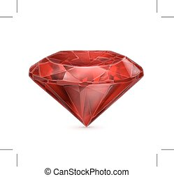 Red ruby icon - Red ruby, vector icon, isolated on white...