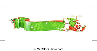 Santa Claus on sledge, vector banner, isolated on white...