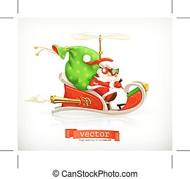 Santa Claus on sledge, vector illustration, isolated on...