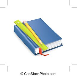 schoolbook with pencil and ruler, vector icon, isolated on...