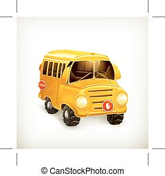 Yellow school bus, vector illustration, isolated on white...