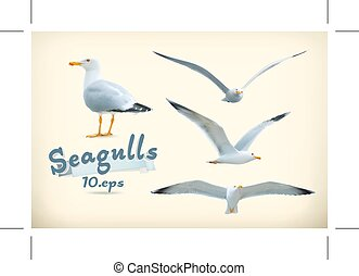 Seagulls vector icons - Set with seagulls vector icons