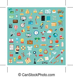 Universal icons - Set with universal icons, flat design