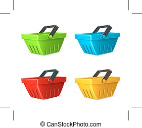 Shopping baskets icons - Set with shopping baskets, icons,...