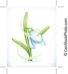 Snowdrop, vector icon, isolated on white background