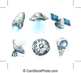 Space vector icons - Set with space vector icons, isolated...