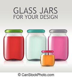 template of glass jars Bottle juice, jam, liquids -...