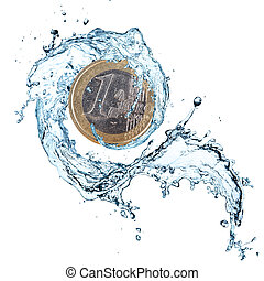 Euro coin with water splash.