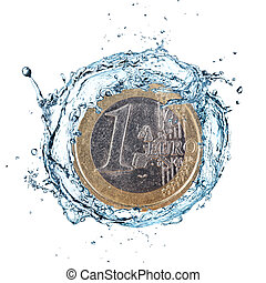 Euro coin with water splash. - Euro coin with water splash...