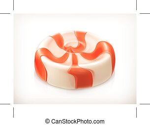 Sweet caramel candy, vector icon, isolated on white...