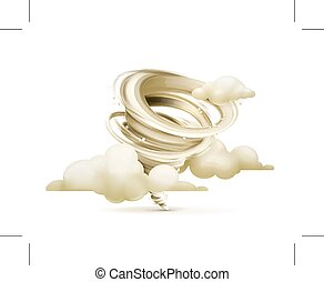 Tornado with clouds illustration