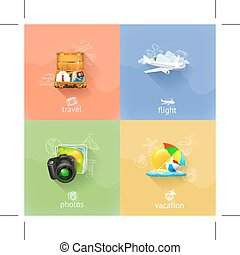 Travel concepts icons - Set with travel concepts icons