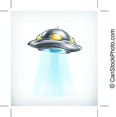 UFO vector icon - UFO icon, isolated on white background
