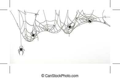 Spiders and spider web, set