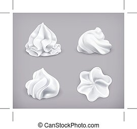 Whipped cream icons - Set with whipped cream icons, on grey...