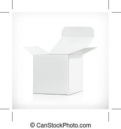 White carton box, illustration, isolated on white background...
