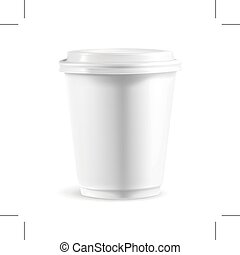 White paper cup with lid, illustration, isolated on white...
