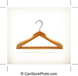 Wooden clothes hanger, icon,  isolated on white background