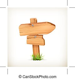 Wooden arrow sign, isolated on white background