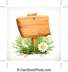 Wooden sign in a grass - Spring, time for a picnic, wooden...
