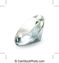 Diamond vector icon - Diamond icon, isolated on white...