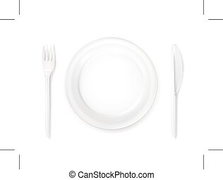 Dinner place setting, isolated on white background
