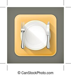 Dinner place setting, flat icon