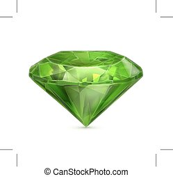 Green emerald icon - Green emerald icon, isolated on white...