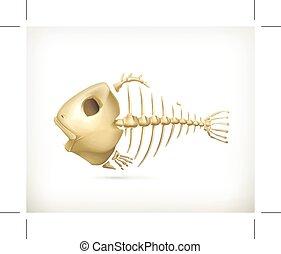 Fish skeleton icon - Fish skeleton, icon, isolated on white...