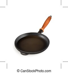 Black frying pan, icon, isolated on white background