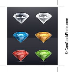 Multicolored Gems icons - Set with Multicolored Gems, icons...