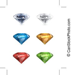 Multicolored Gems icons - Set with Multicolored Gems, icons,...
