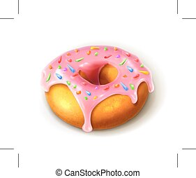 Glazed ring doughnut, detailed isolated on white background