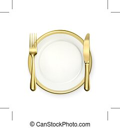 Dinner place setting - Golden dinner place setting, isolated...